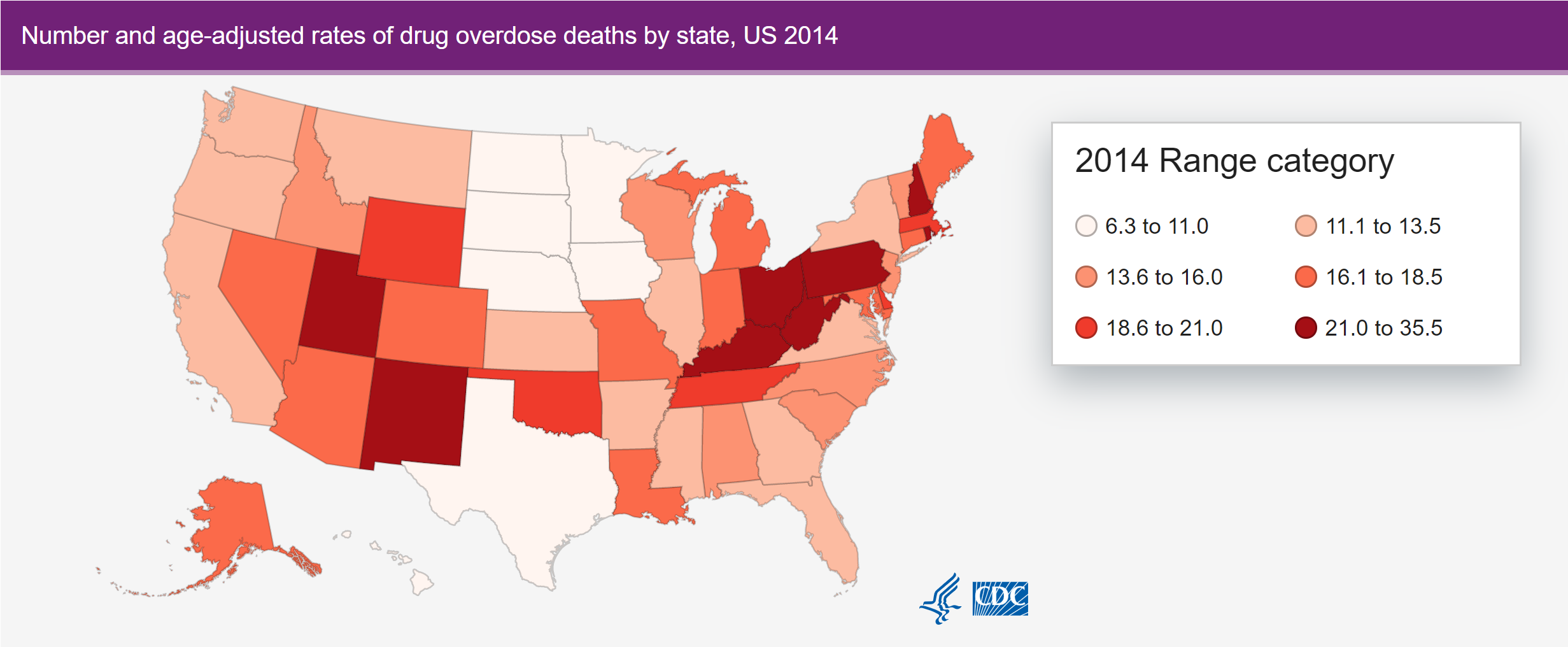 2014 cdc drug overdose state map