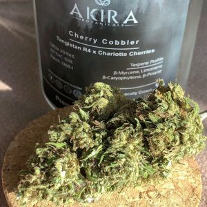 cherry cobbler hemp flower by akira botanicals cbd percentage label by consciouscloudscbd