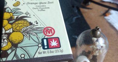 crop circle chocolate orange-yuzu zest cannabis dark chocolate truffles review by pdxstoneman
