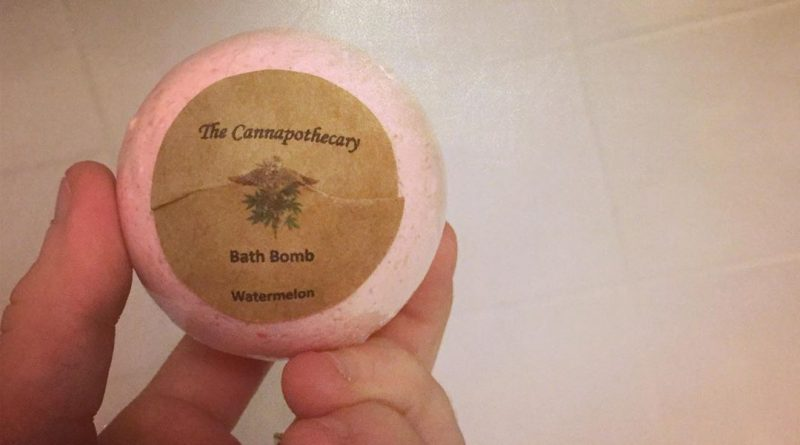 watermelon bath bomb from the cannapothecary cosmetic review by thecoughingwalrus