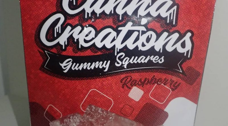 raspberry gummy squares by canna creations edible review by the_originalcannaseur